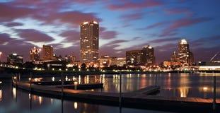 Evening Panorama of Milwaukee stock images