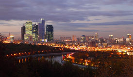 Evening panorama of Moscow City complex Stock Images
