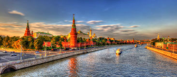 Evening panorama of Moscow Kremlin stock photos