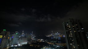 Evening panorama of night city Hong Kong, China. Seen buildings, skyscrapers and sea stock footage