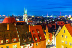 Evening panorama of Nuremberg, Germany stock photos