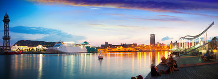 Evening Panorama Of Barcelona Embankment Royalty Free Stock Photo