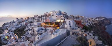 Evening panorama of Oia Stock Photography