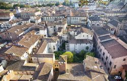 Panorama of old town Lucca, Italy Royalty Free Stock Images