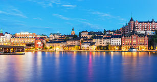 Evening panorama of the Old Town in Stockholm, Sweden Royalty Free Stock Photos