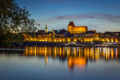 Evening panorama of Old Town in Torun, Poland stock photos