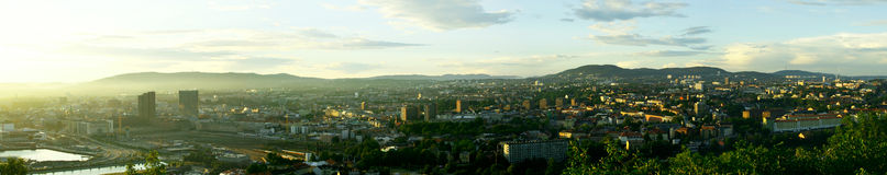 Evening panorama of Oslo. View on the evening Oslo from the Ekeberg hill Royalty Free Stock Photo