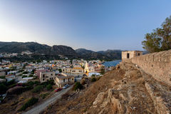 Evening panorama of Paleochora town, located in western part of Crete island, Greece Royalty Free Stock Image