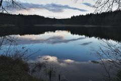 Evening panorama Picture of the old pond or lake from mediaeval age. Stock Photos