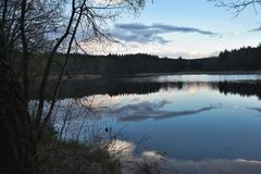 Evening panorama Picture of the old pond or lake from mediaeval age. Picture taken evening before storm in the summer in Czech republic region czech moravian Stock Photos