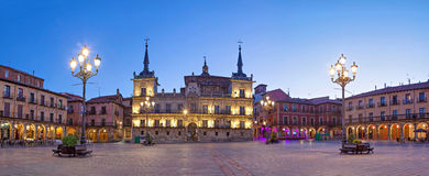 Evening panorama of Plaza Mayor in Leon. Castile and Leon, Spain stock photography