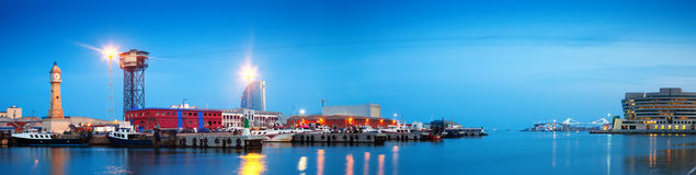 Evening panorama of Port Vell Royalty Free Stock Photography
