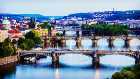 Evening panorama of Prague, Czech Republic Royalty Free Stock Image