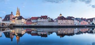 Evening panorama of Regensburg Royalty Free Stock Photos