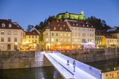 Evening panorama of riverfront of Ljubljana, Slovenia. Stock Photos