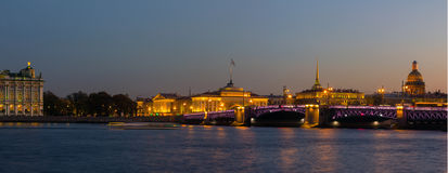 Evening panorama of St. Petersburg, the Hermitage, Russia Royalty Free Stock Image