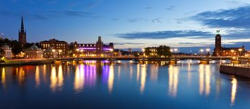 Evening panorama of Stockholm, Sweden. Scenic evening panorama of the Old Town (Gamla Stan) in Stockholm, Sweden Royalty Free Stock Image