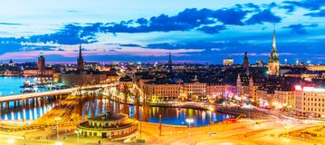 Evening panorama of Stockholm, Sweden Royalty Free Stock Images
