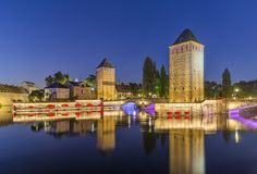 Evening panorama of Strasbourg, the medieval bridge Ponts Couverts. France Royalty Free Stock Photos