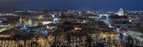 Evening panorama of the Vilnius Old Town, Lithuania Royalty Free Stock Photography