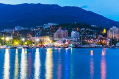 Evening panorama of Yalta, Crimea, Ukraine Royalty Free Stock Photos