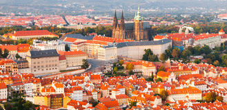 Free Evening Panoramic Aerial View Of Prague Castle Complex In Czech Republic Stock Photos - 81234873