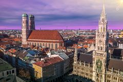 Evening panoramic cityscape dowtown of Munich at sunset, Bavaria, Germany. Europe Royalty Free Stock Images