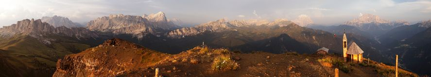 Evening panoramic view from dolomites mountains Royalty Free Stock Images