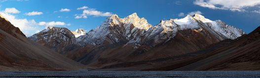 Evening panoramic view of Great Himalayan range Royalty Free Stock Image
