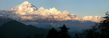 Evening panoramic view of mount Dhaulagiri Royalty Free Stock Images