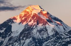 Evening panoramic view of mount Dhaulagiri Royalty Free Stock Photography