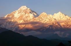 Evening panoramic view of mount Dhaulagiri - Nepal. View of Evening panoramic view of mount Dhaulagiri - Nepal royalty free stock photo