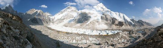 Evening panoramic view of Mount Everest base camp Royalty Free Stock Photography