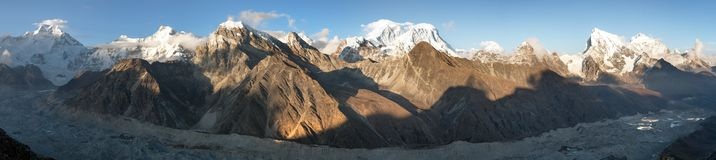 Evening panoramic view of mount Everest Royalty Free Stock Photo