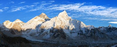 Evening panoramic view of Mount Everest from Kala Patthar. With beautiful clouds on sky - Way to Mount Everest base camp, Sagarmatha national park, Khumbu Royalty Free Stock Images