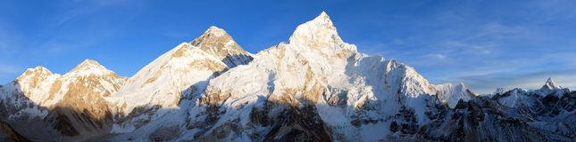 Evening panoramic view of Mount Everest from Kala Patthar. Way to Mount Everest base camp, Sagarmatha national park, Khumbu valley, Nepal Stock Image