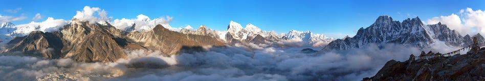 Mount Everest, Lhotse, Makalu and Cho Oyu panorama. Evening panoramic view of Mount Everest, Lhotse, Makalu and Cho Oyu from Gokyo Ri, Sagarmatha national park royalty free stock photography