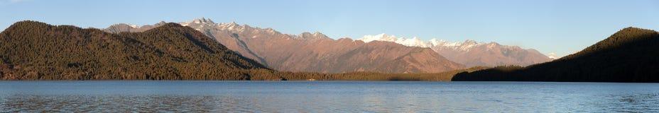 Evening panoramic view of Rara Daha or Mahendra Tal Lake Royalty Free Stock Photo