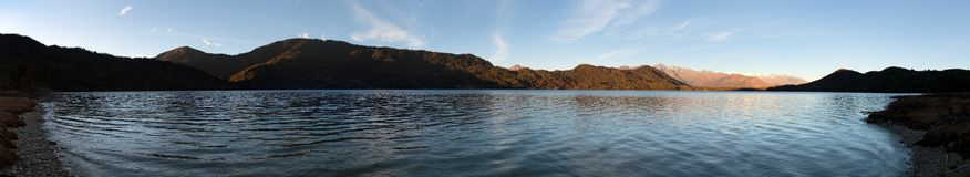 Evening panoramic view of Rara Daha or Mahendra Tal Lake Royalty Free Stock Image