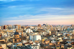 Evening panoramic view of Valencia from a tower of Valencia cathedral Royalty Free Stock Photography