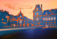 Evening Paris illustration Royalty Free Stock Images