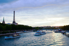 Evening in Paris. Evening on Seine river, Paris, France Stock Images