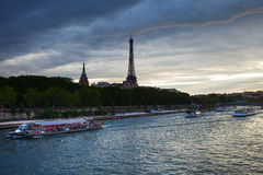 Evening in Paris. Evening on Seine river, Paris, France Royalty Free Stock Photo