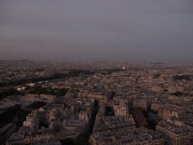 Evening Paris view from the Eiffel tower stock photos
