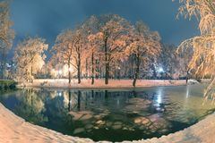 Evening park after snowfall Stock Image