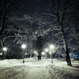 Evening park in the winter. Walking through the snow-covered park with magic lanterns Royalty Free Stock Images