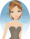 Evening Party. Elegant Dirty Blond Caucasian Woman In A Prom Dress