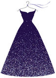 Evening party dress fashion illustration. Deep violet evening party dress on hanger, fashion illustration isolated on white Royalty Free Stock Images