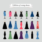 Evening Party Dresses Icons. Evening Dresses. Vector party dress or fashion dresses in different styles Stock Photography