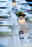 Evening party table. With candles Stock Photos